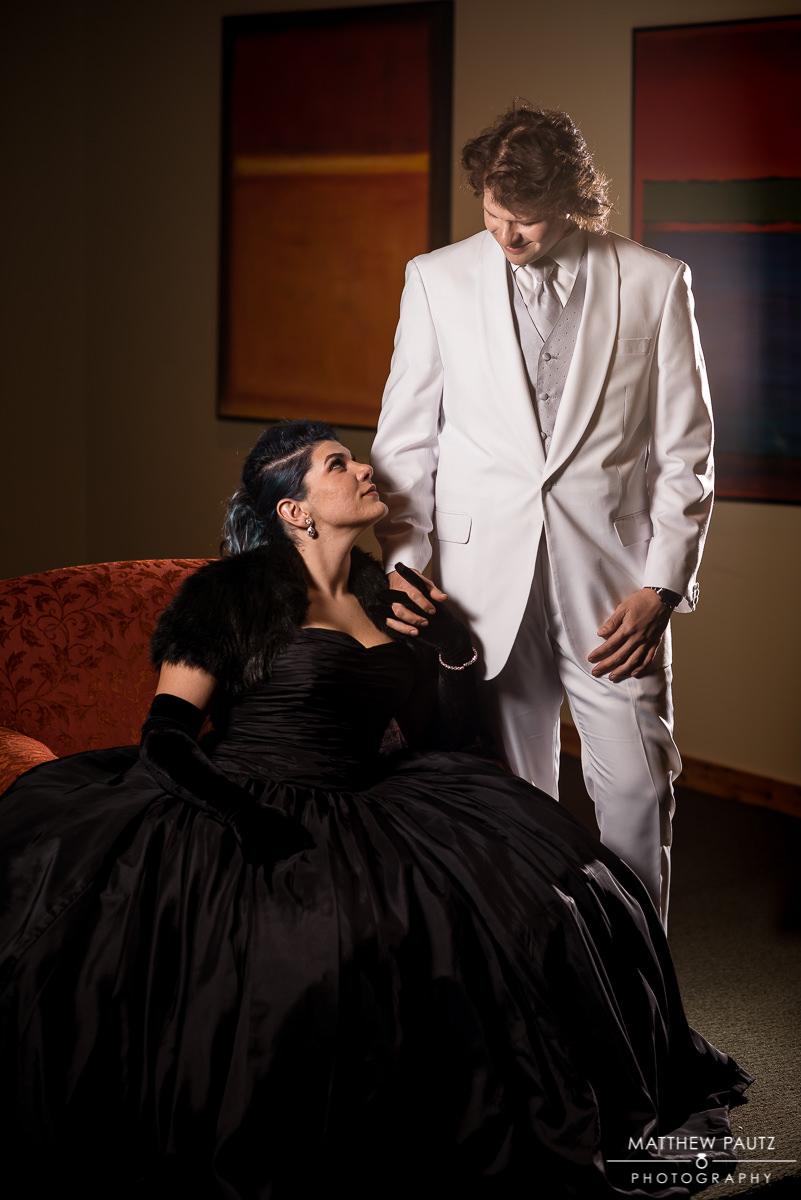 bride in black wedding dress and groom wedding portrait