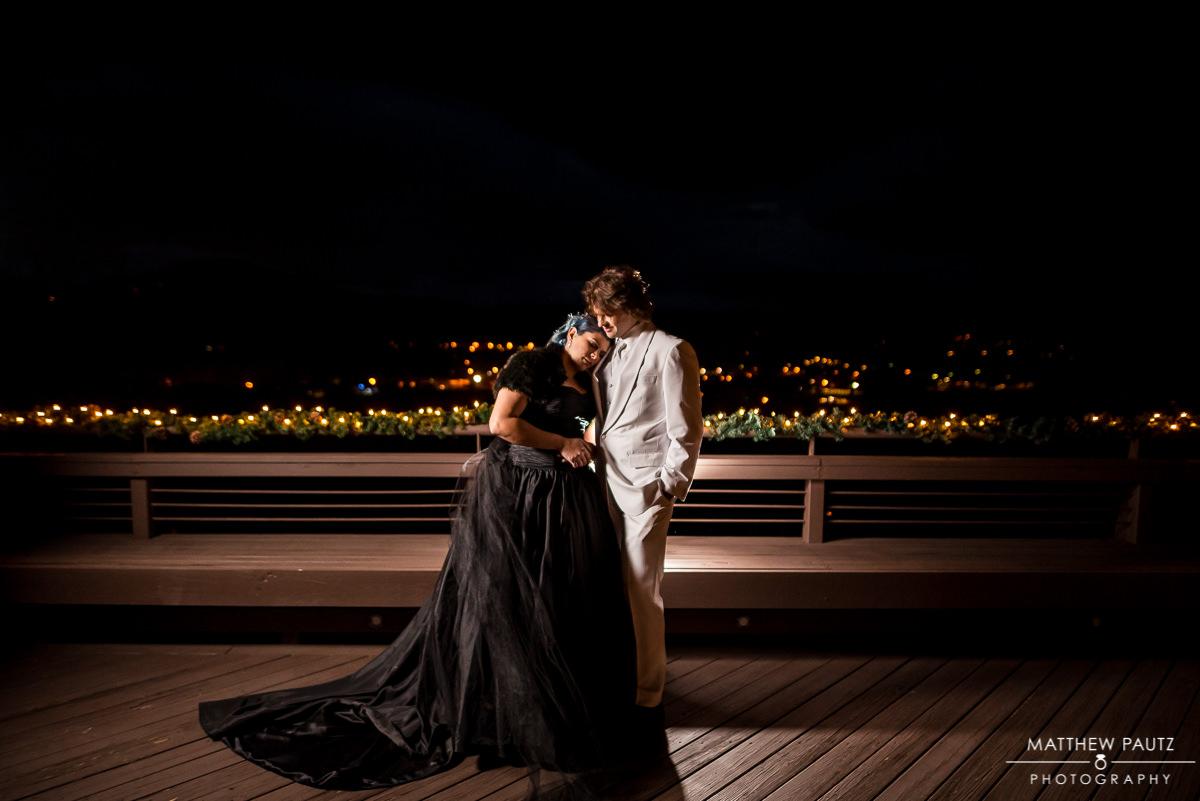 Night wedding photos in Asheville NC | bride in black wedding dress