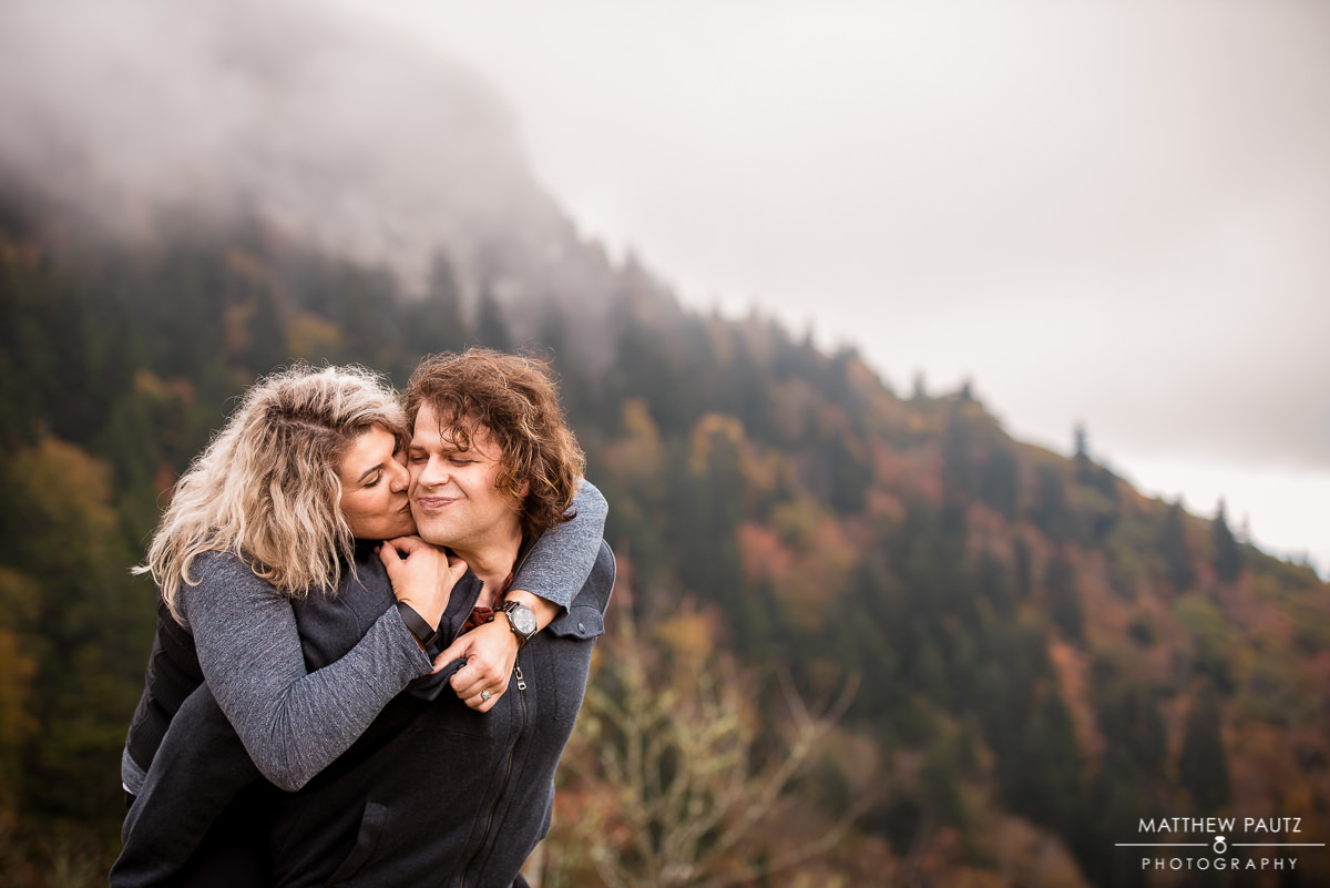 Blue Ridge Parkway engagement photos at The Devil's Courthouse