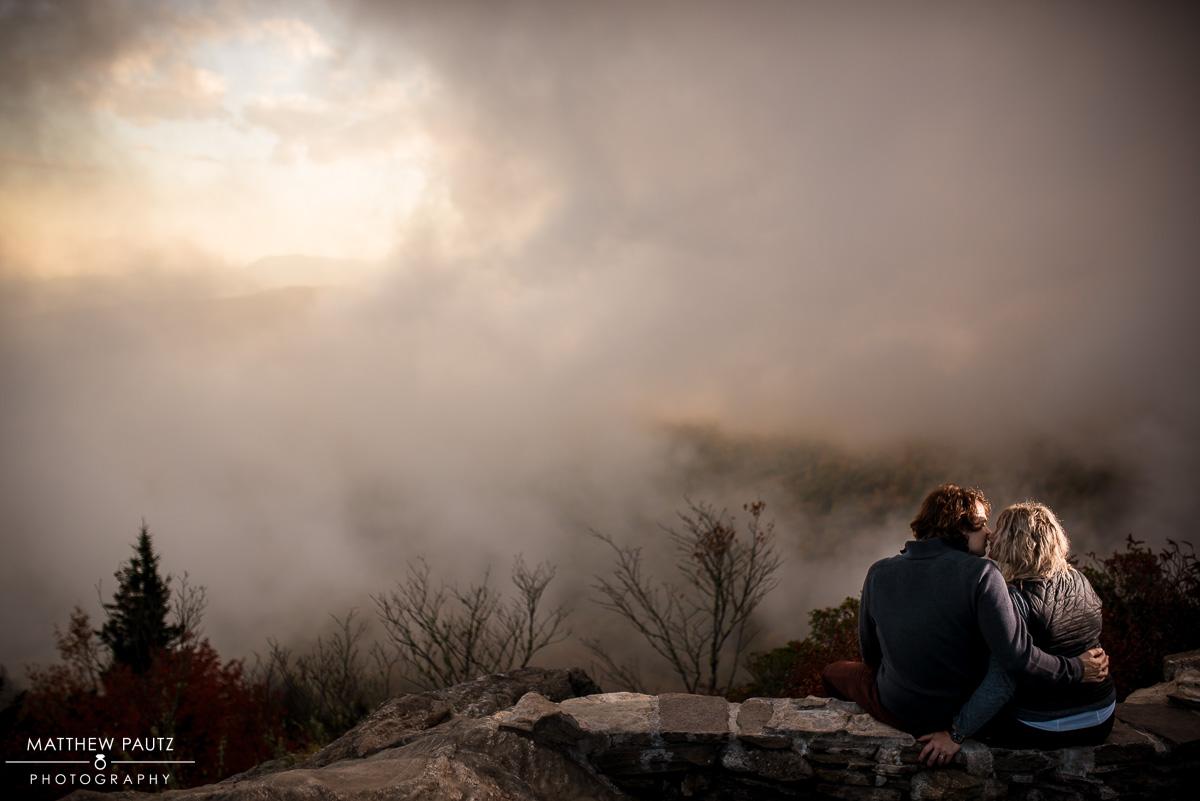 Fall mountain engagement photos at sunset