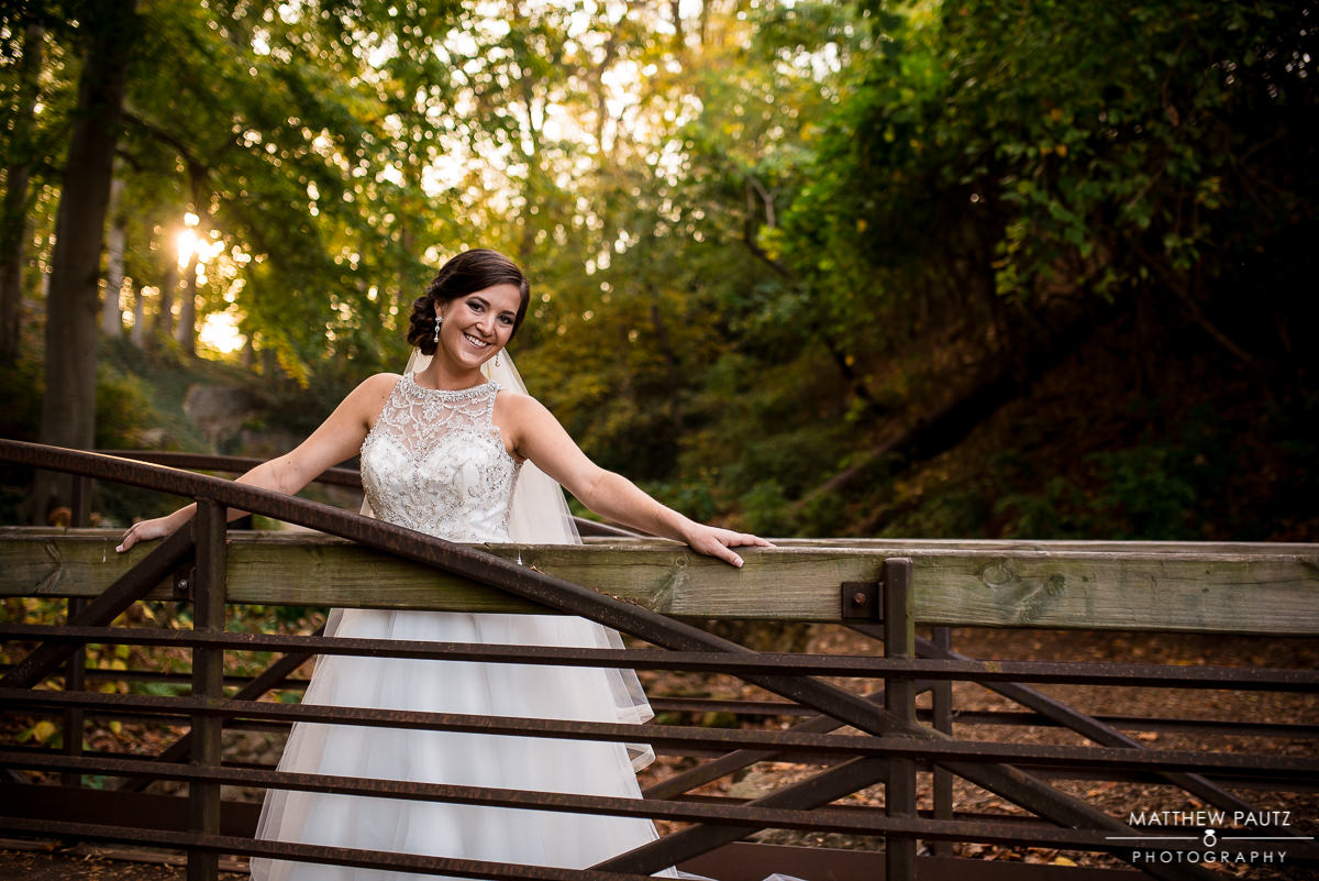Fall bridal photos in Falls Park, downtown Greenville