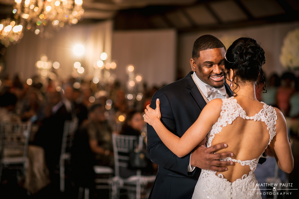 Bride and groom's first dance at Asheville NC Crest Center and Pavilion