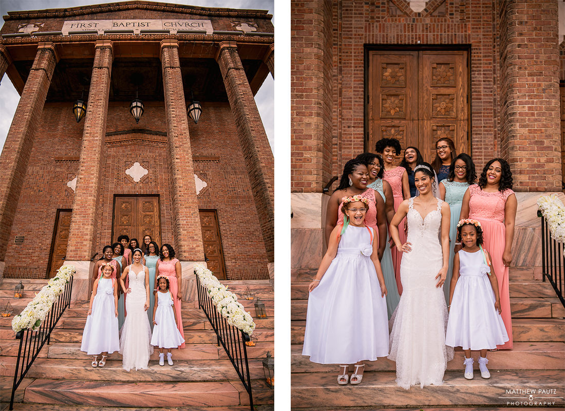 bridesmaids photos on church steps