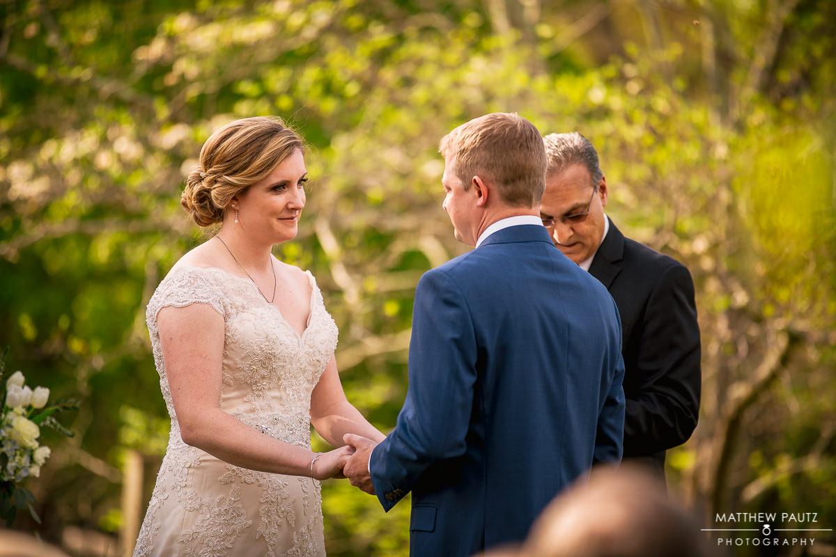 Outdoor wedding ceremony in Spring
