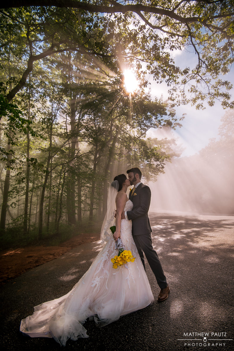 Beautiful light rays streaming through tress over newly married couple