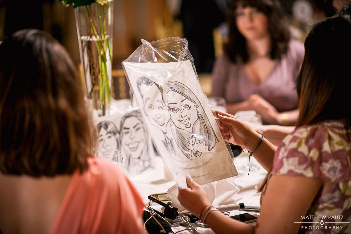 wedding reception caricatures